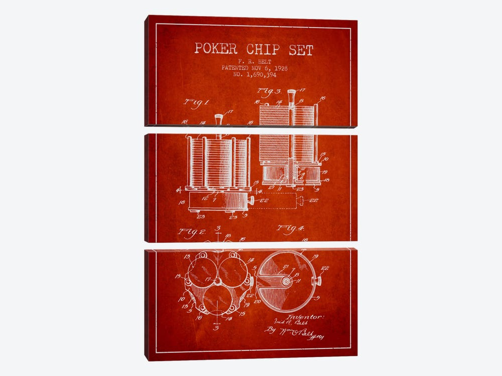 Poker Chips 1 Red Patent Blueprint by Aged Pixel 3-piece Canvas Print