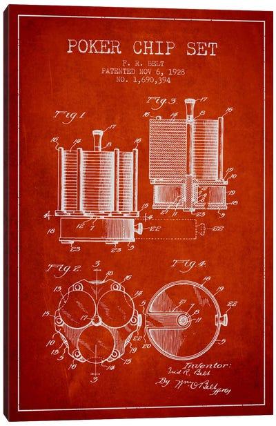 Poker Chips 1 Red Patent Blueprint Canvas Art Print