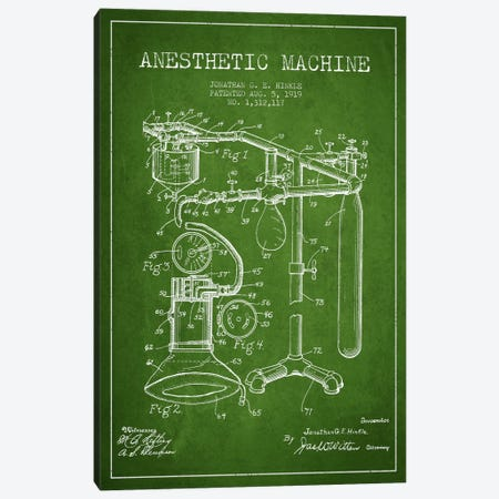 Anesthetic Machine Green Patent Blueprint Canvas Print #ADP1550} by Aged Pixel Canvas Wall Art