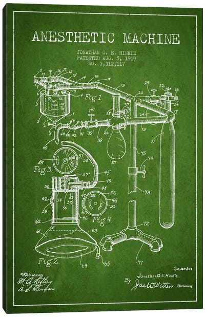 Anesthetic Machine Green Patent Blueprint Canvas Art Print