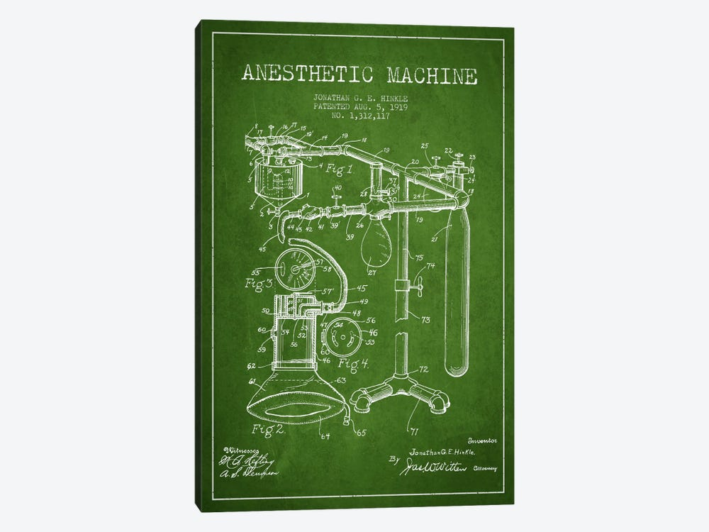 Anesthetic Machine Green Patent Blueprint by Aged Pixel 1-piece Art Print