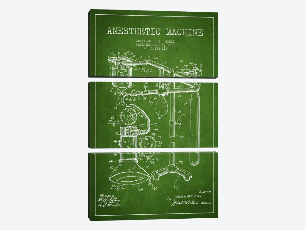 Anesthetic Machine Green Patent Blueprint by Aged Pixel 3-piece Canvas Art Print