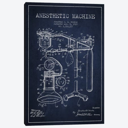 Anesthetic Machine Navy Blue Patent Blueprint Canvas Print #ADP1551} by Aged Pixel Canvas Art