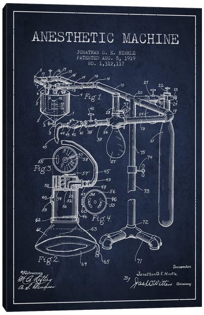 Anesthetic Machine Navy Blue Patent Blueprint Canvas Print #ADP1551