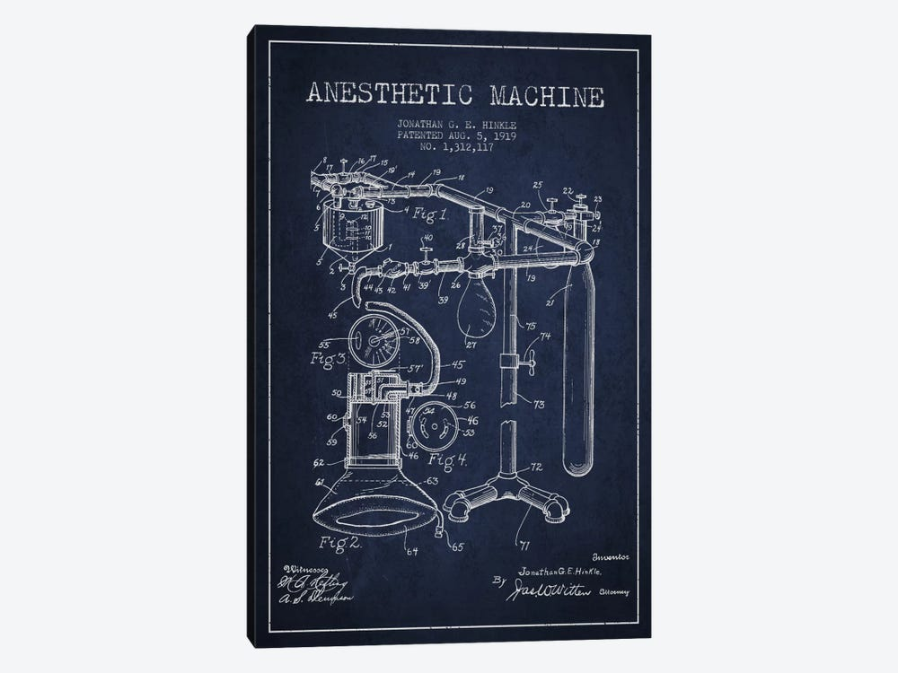Anesthetic Machine Navy Blue Patent Blueprint 1-piece Canvas Wall Art
