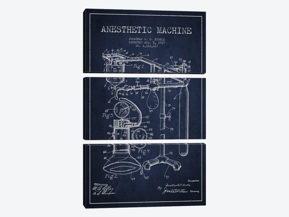 Anesthetic Machine Navy Blue Patent Blueprint by Aged Pixel 3-piece Canvas Art