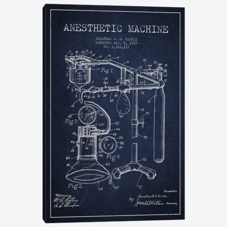 Anesthetic Machine Navy Blue Patent Blueprint Canvas Print #ADP1551} by Aged Pixel Canvas Art