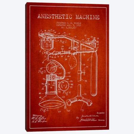 Anesthetic Machine Red Patent Blueprint Canvas Print #ADP1552} by Aged Pixel Canvas Wall Art