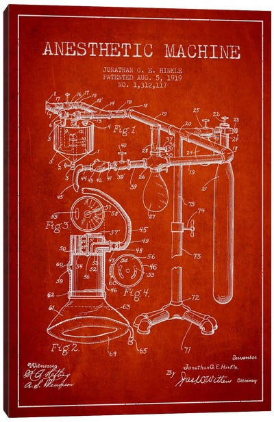 Anesthetic Machine Red Patent Blueprint Canvas Art Print