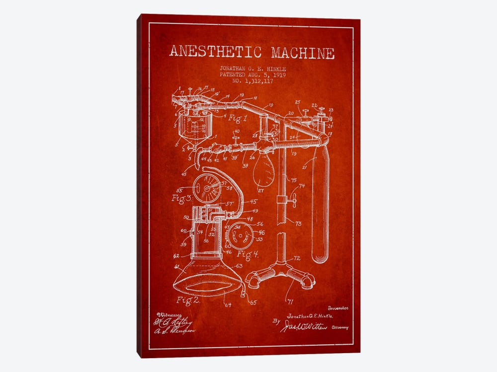 Anesthetic Machine Red Patent Blueprint by Aged Pixel 1-piece Canvas Art Print