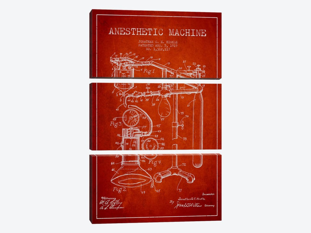 Anesthetic Machine Red Patent Blueprint by Aged Pixel 3-piece Canvas Print