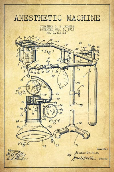 Anesthetic machine vintage patent blueprint canva aged pixel framed print malvernweather Image collections