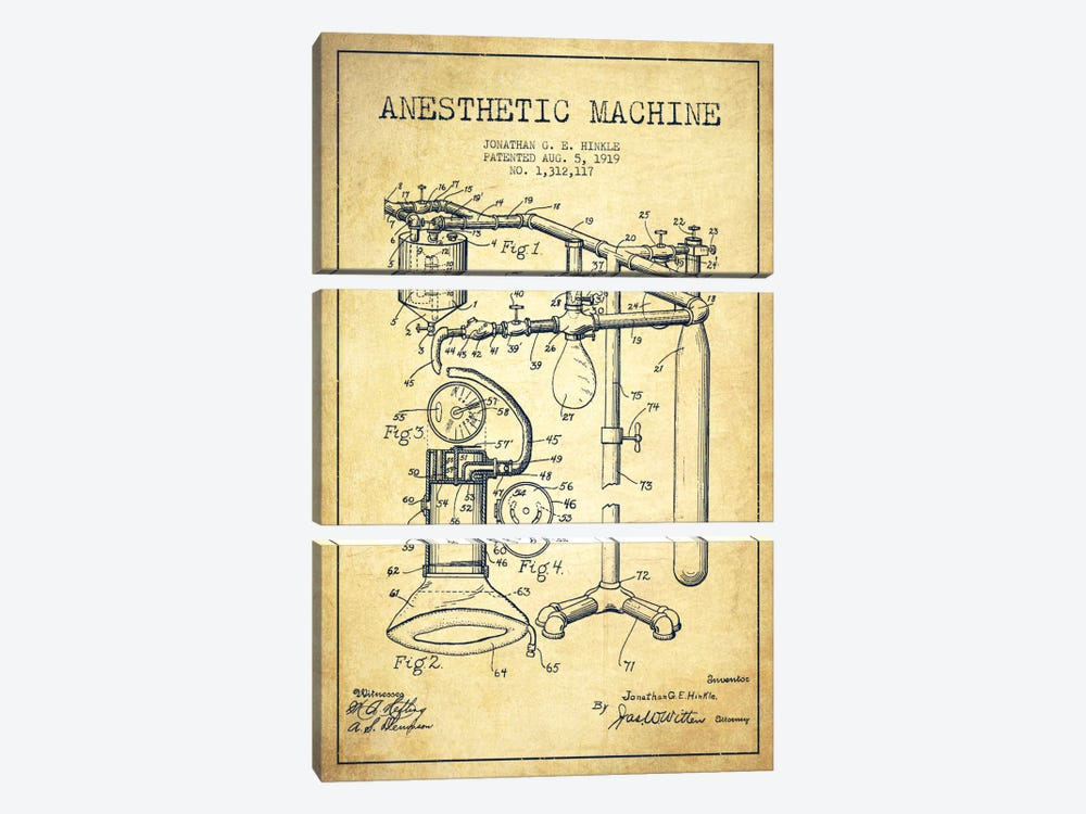Anesthetic Machine Vintage Patent Blueprint by Aged Pixel 3-piece Canvas Wall Art