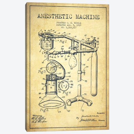 Anesthetic Machine Vintage Patent Blueprint Canvas Print #ADP1553} by Aged Pixel Canvas Wall Art