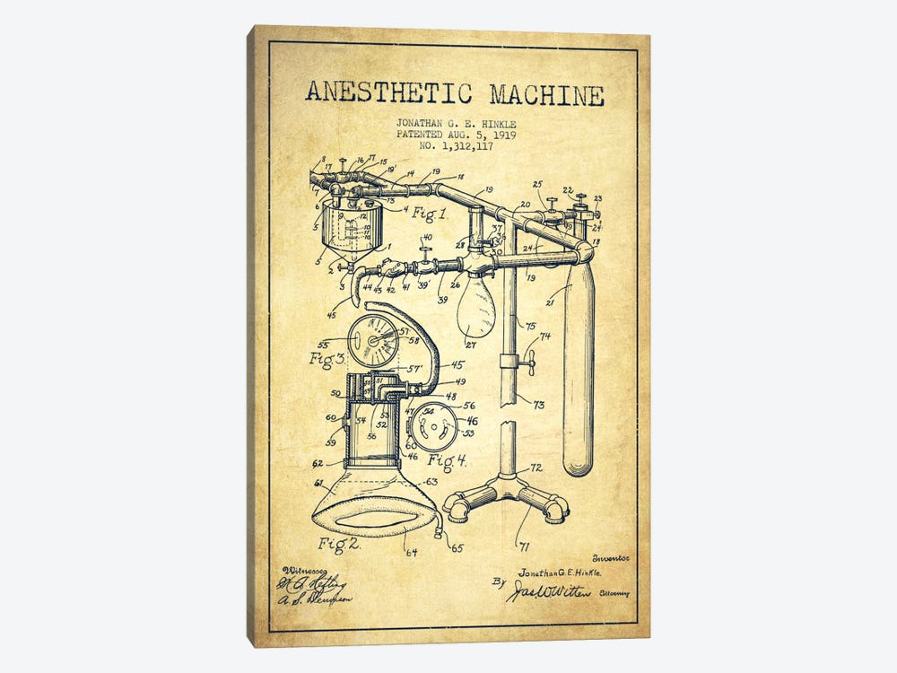 Anesthetic Machine Vintage Patent Blueprint by Aged Pixel 1-piece Canvas Artwork