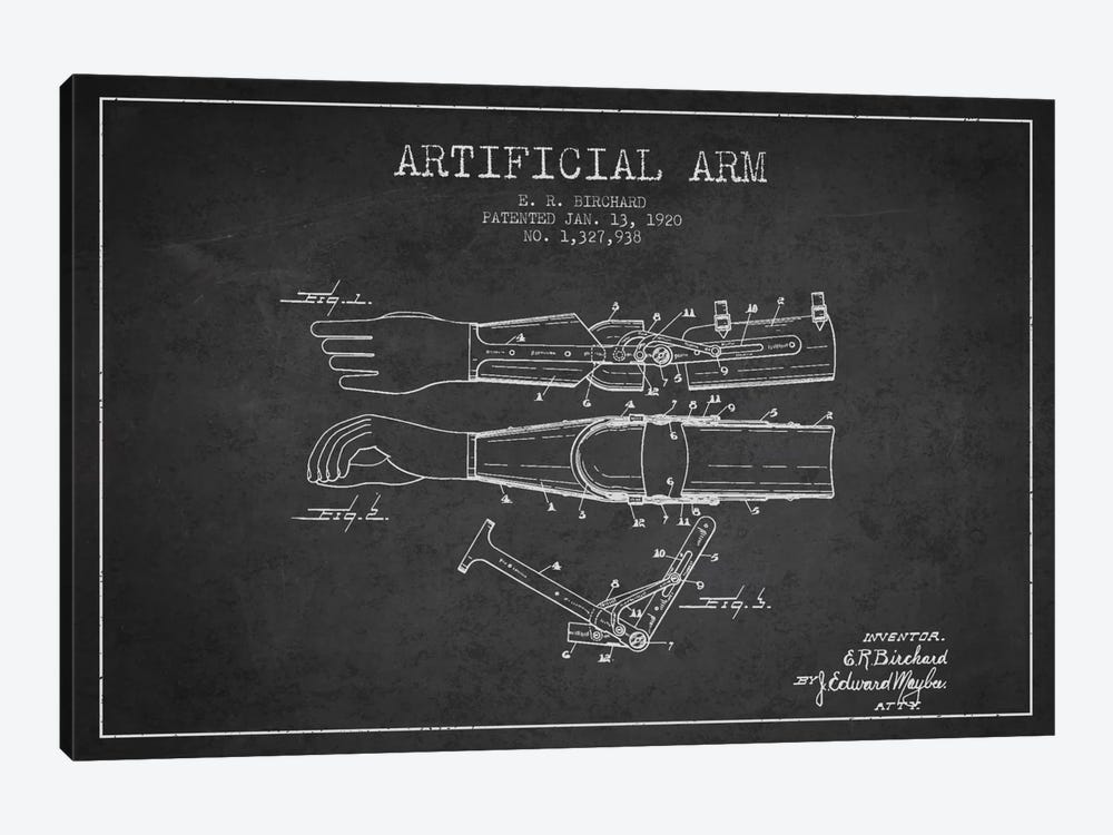 Artificial Arm Charcoal Patent Blueprint by Aged Pixel 1-piece Canvas Art Print