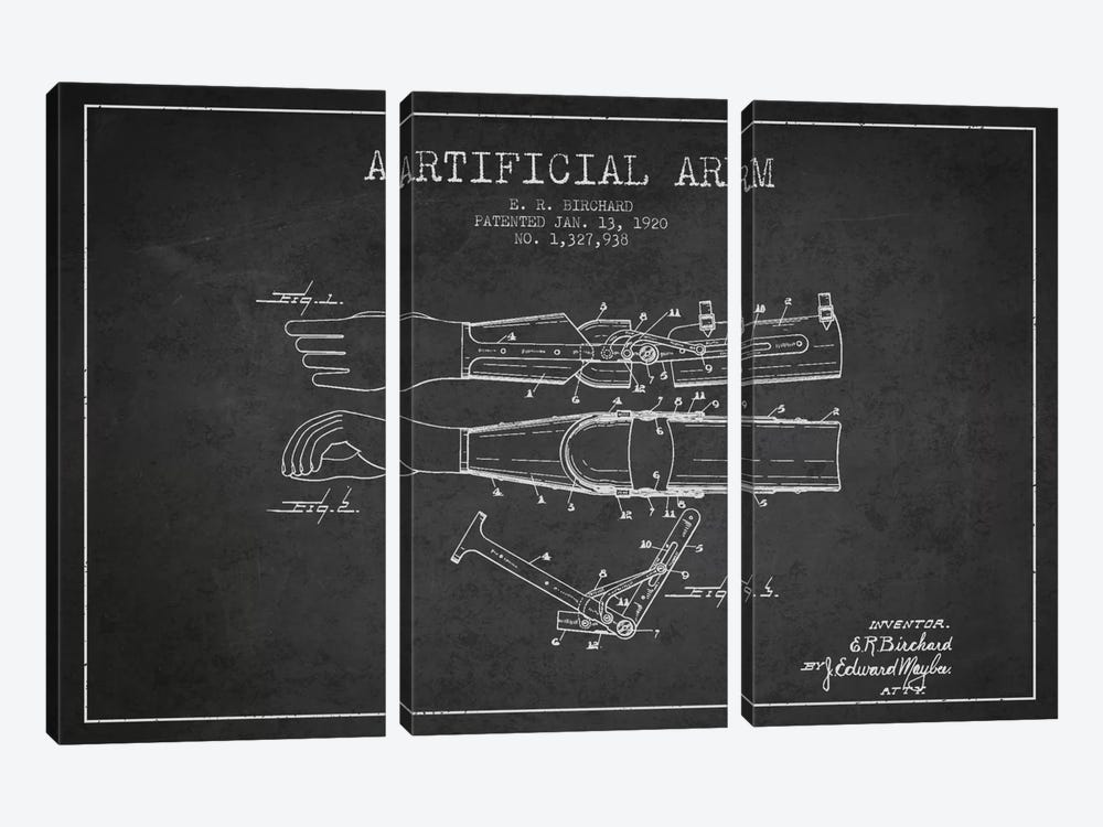 Artificial Arm Charcoal Patent Blueprint by Aged Pixel 3-piece Canvas Print
