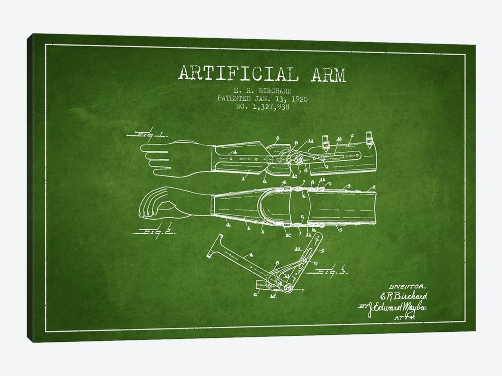 Artificial Arm Green Patent Blueprint by Aged Pixel 1-piece Canvas Artwork