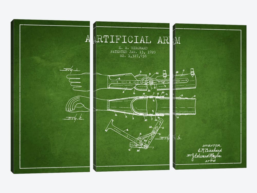 Artificial Arm Green Patent Blueprint by Aged Pixel 3-piece Canvas Wall Art