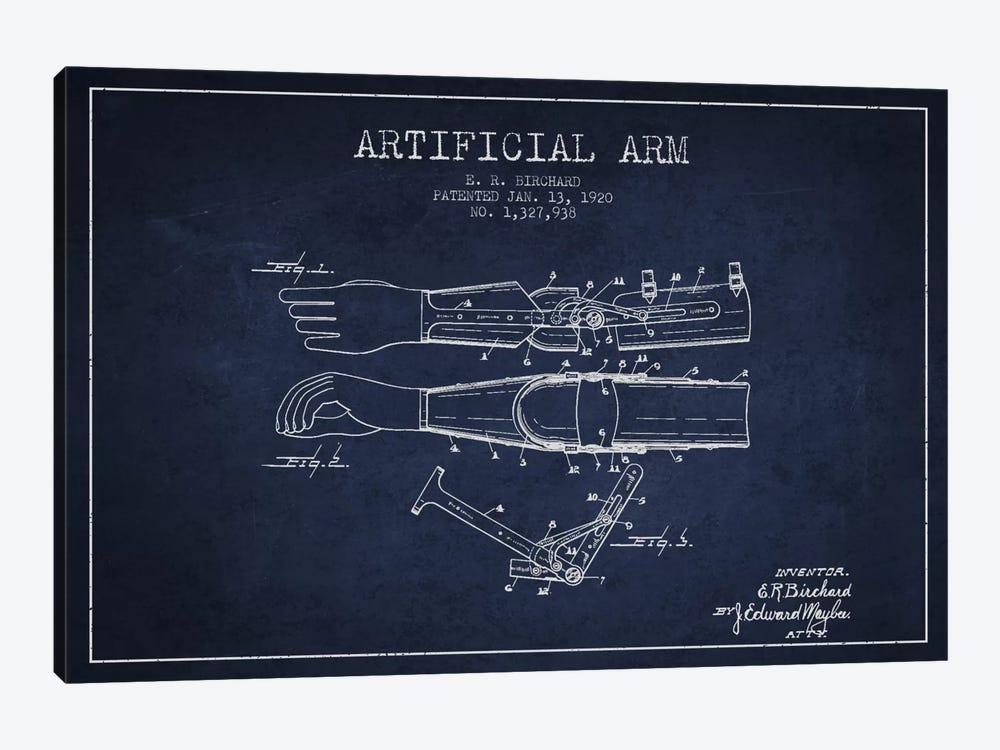 Artificial Arm Navy Blue Patent Blueprint by Aged Pixel 1-piece Art Print