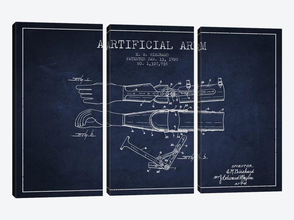 Artificial Arm Navy Blue Patent Blueprint by Aged Pixel 3-piece Art Print