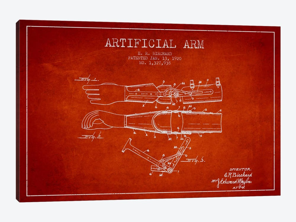 Artificial Arm Red Patent Blueprint by Aged Pixel 1-piece Canvas Wall Art