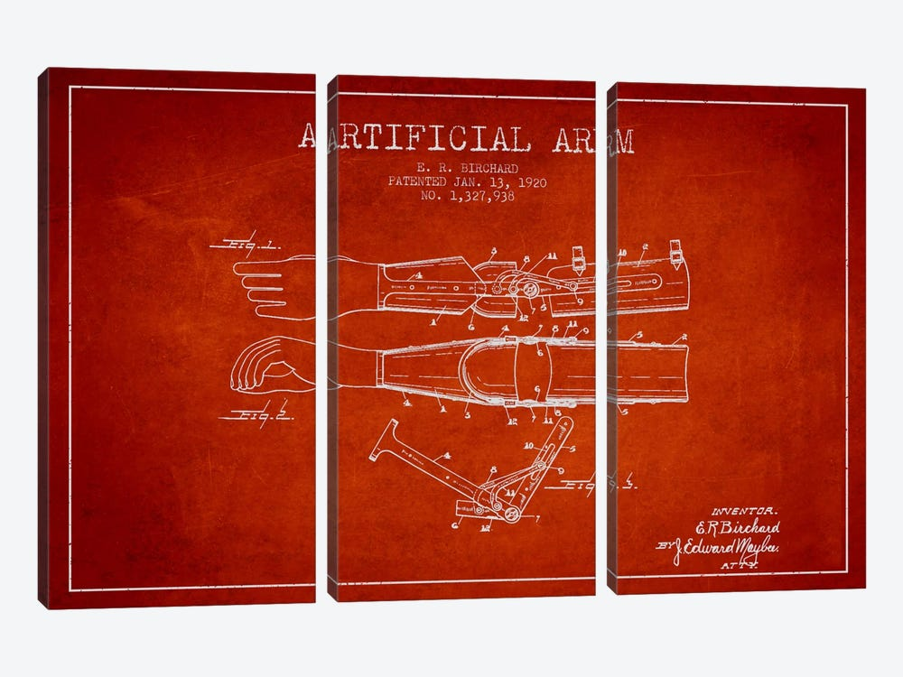 Artificial Arm Red Patent Blueprint by Aged Pixel 3-piece Canvas Artwork