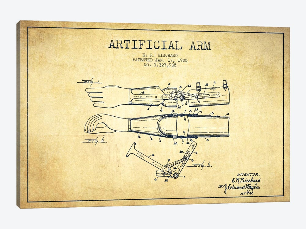 Artificial Arm Vintage Patent Blueprint 1-piece Canvas Print