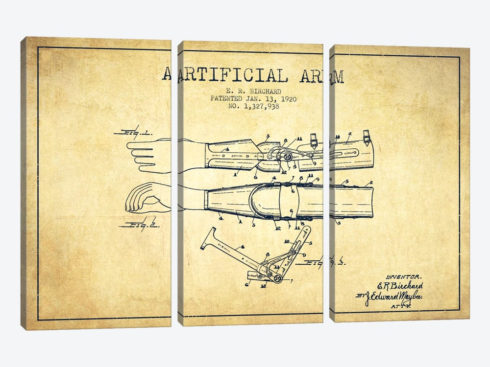 Artificial Arm Vintage Patent Blueprint by Aged Pixel 3-piece Canvas Print