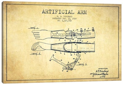 Artificial Arm Vintage Patent Blueprint Canvas Art Print
