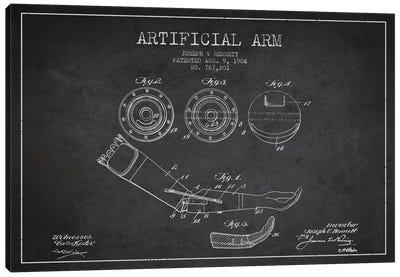 Artificial Arm Charcoal Patent Blueprint Canvas Art Print