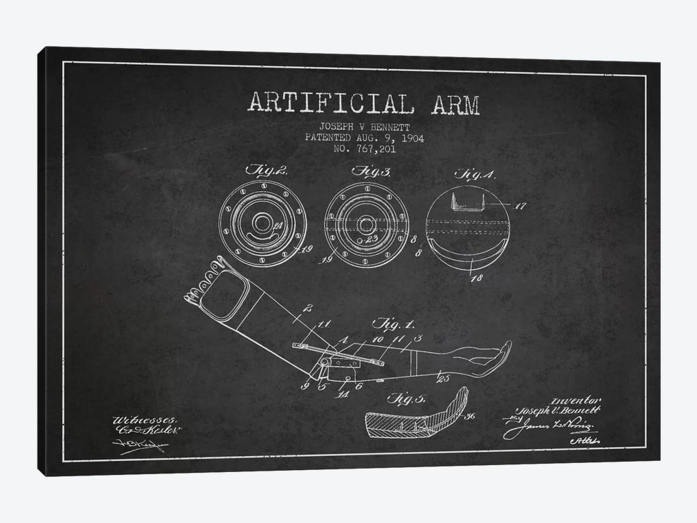 Artificial Arm Charcoal Patent Blueprint by Aged Pixel 1-piece Canvas Wall Art