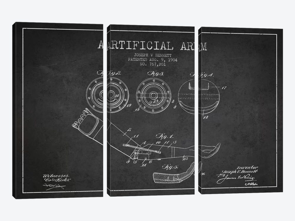 Artificial Arm Charcoal Patent Blueprint by Aged Pixel 3-piece Canvas Artwork