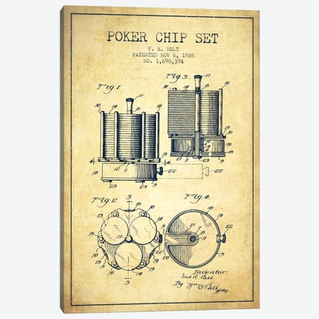 Poker Chips 1 Vintage Patent Blueprint Canvas Print #ADP155} by Aged Pixel Canvas Wall Art