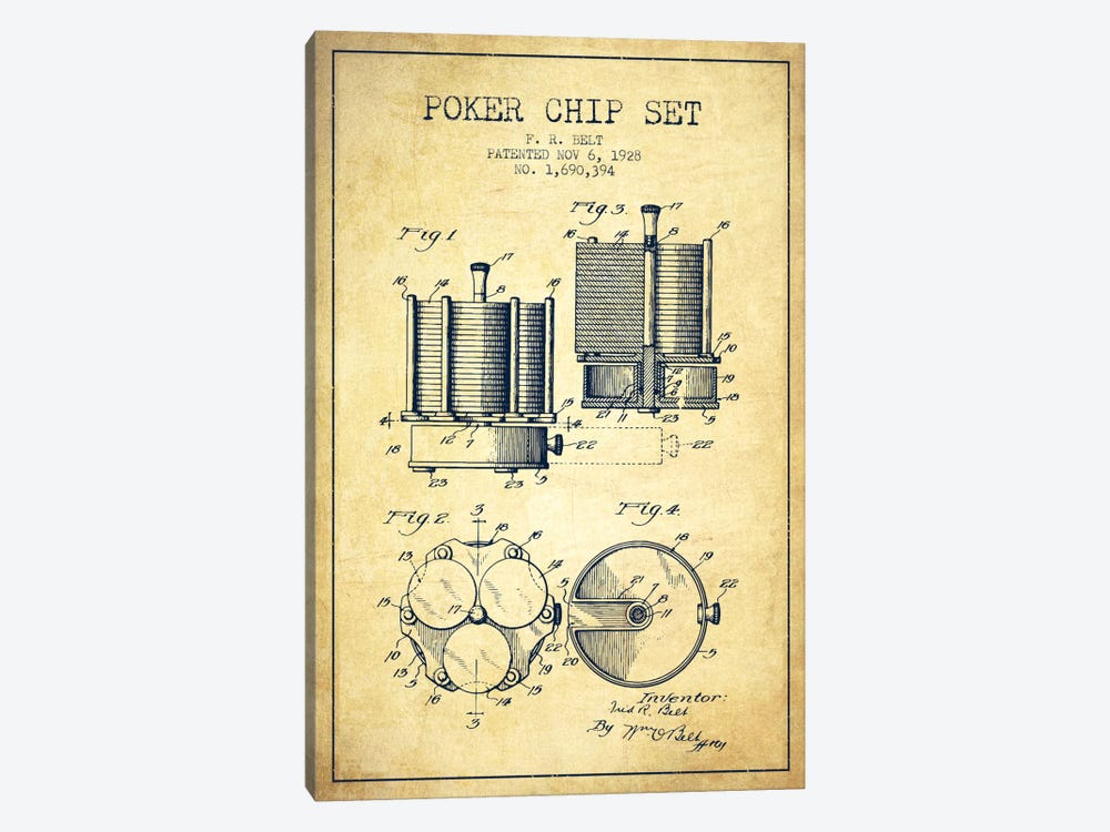 Poker Chips 1 Vintage Patent Blueprint by Aged Pixel 1-piece Canvas Art