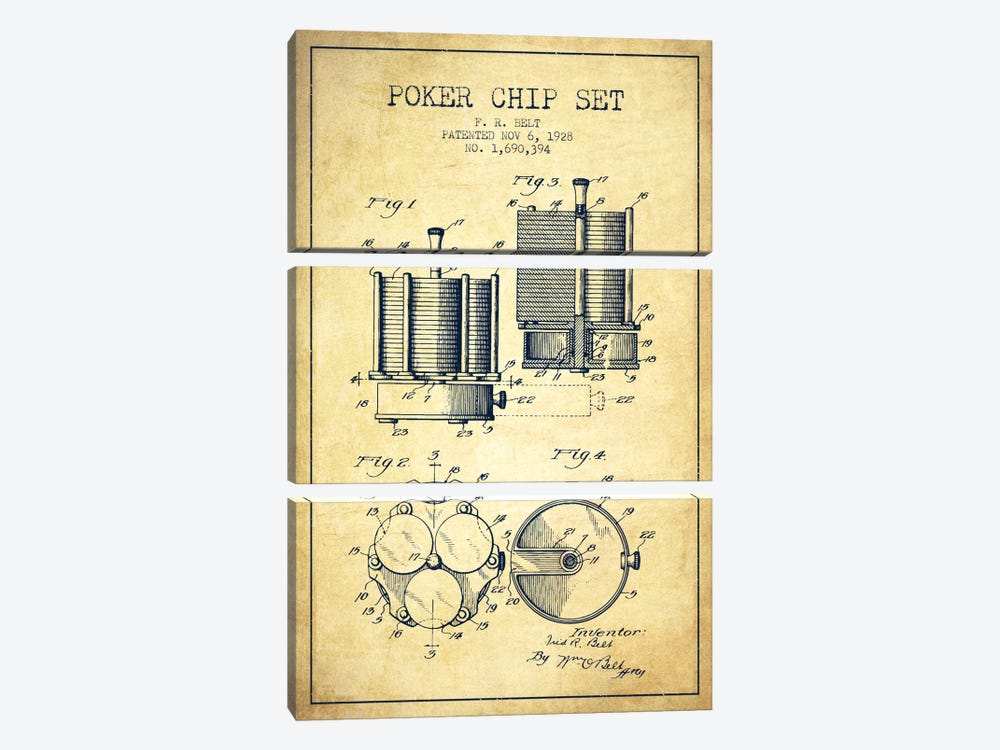 Poker Chips 1 Vintage Patent Blueprint by Aged Pixel 3-piece Canvas Wall Art