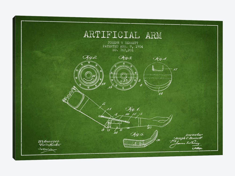 Artificial Arm Green Patent Blueprint by Aged Pixel 1-piece Canvas Wall Art