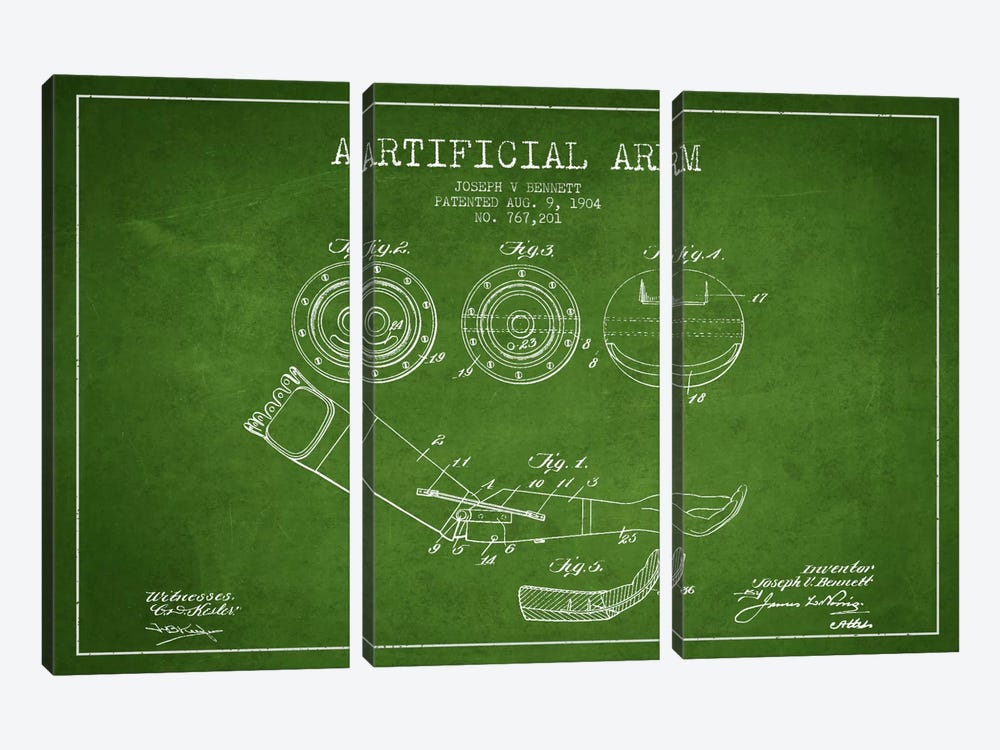 Artificial Arm Green Patent Blueprint by Aged Pixel 3-piece Canvas Art