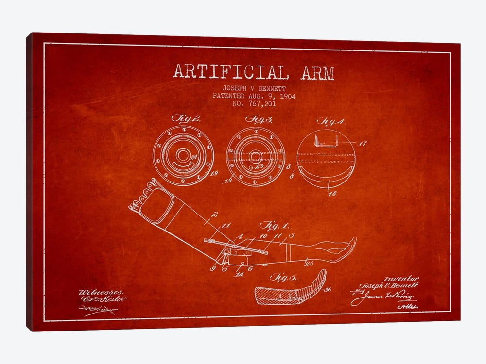 Artificial Arm Red Patent Blueprint by Aged Pixel 1-piece Canvas Art
