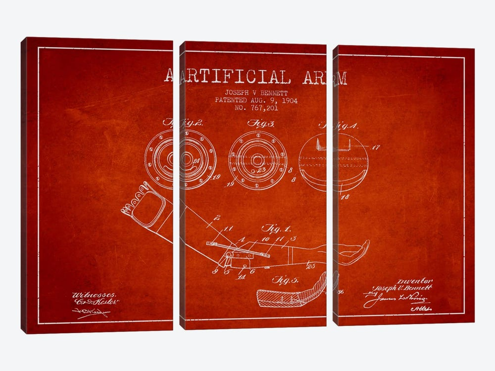 Artificial Arm Red Patent Blueprint by Aged Pixel 3-piece Canvas Wall Art