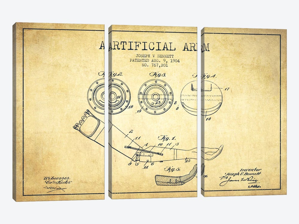 Artificial Arm Vintage Patent Blueprint 3-piece Canvas Print