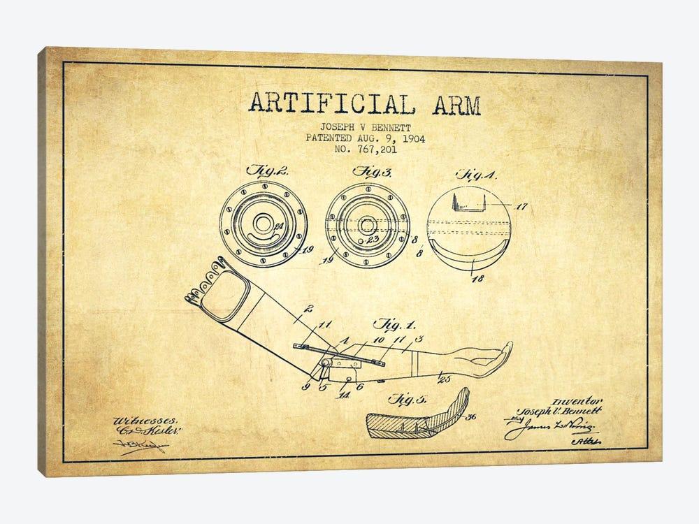 Artificial Arm Vintage Patent Blueprint by Aged Pixel 1-piece Art Print