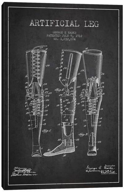 Artificial Leg Charcoal Patent Blueprint Canvas Art Print