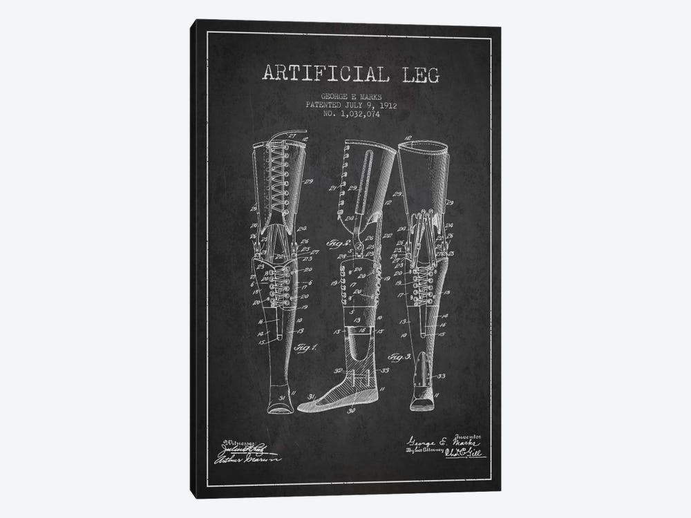 Artificial Leg Charcoal Patent Blueprint by Aged Pixel 1-piece Canvas Artwork