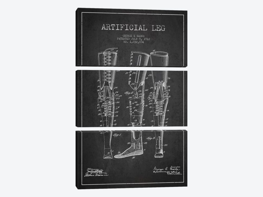 Artificial Leg Charcoal Patent Blueprint by Aged Pixel 3-piece Canvas Artwork