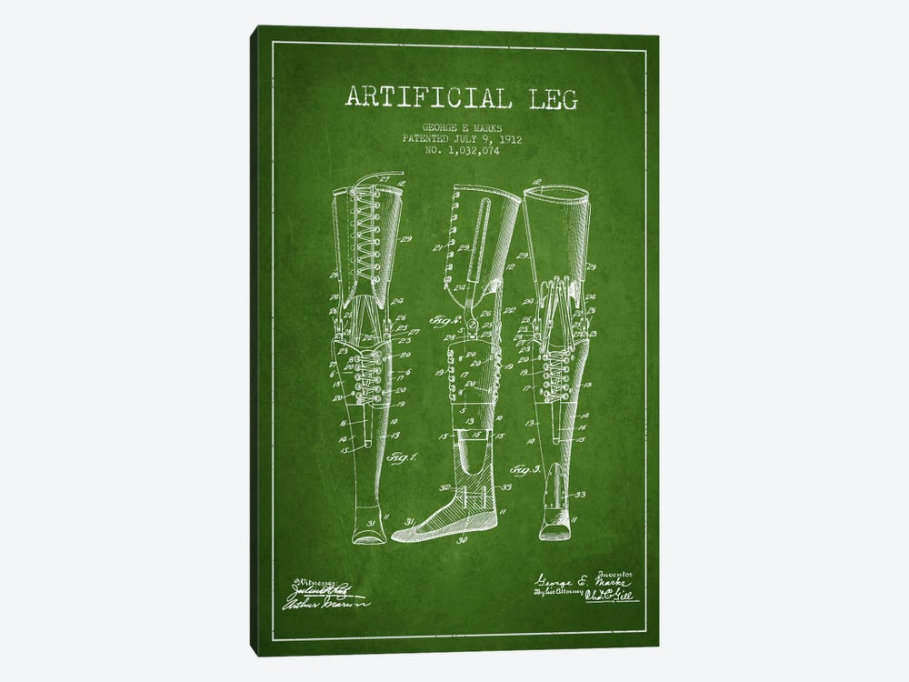 Artificial Leg Green Patent Blueprint by Aged Pixel 1-piece Canvas Print
