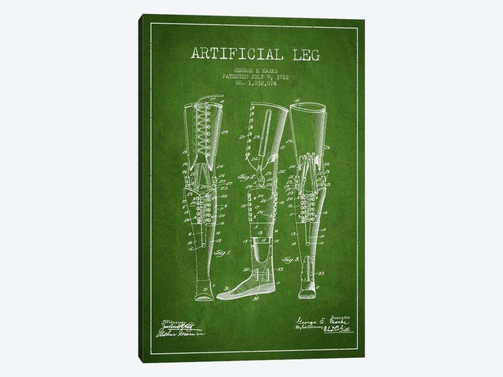 Artificial Leg Green Patent Blueprint by Aged Pixel 1-piece Canvas Print