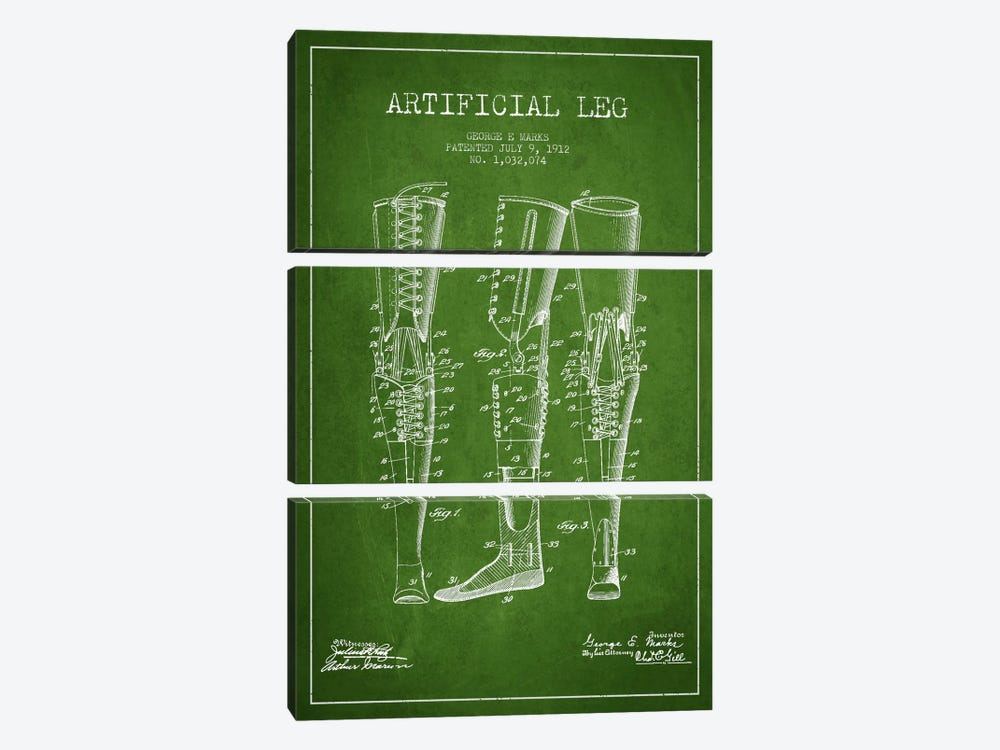 Artificial Leg Green Patent Blueprint by Aged Pixel 3-piece Art Print