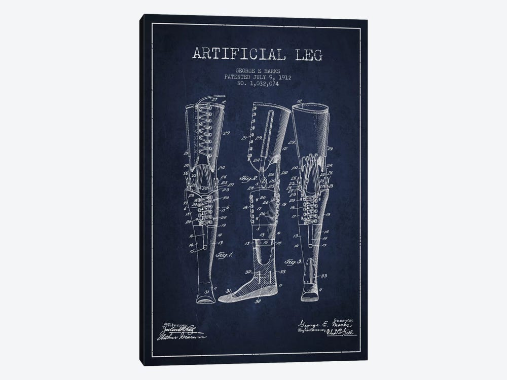 Artificial Leg Navy Blue Patent Blueprint by Aged Pixel 1-piece Canvas Art