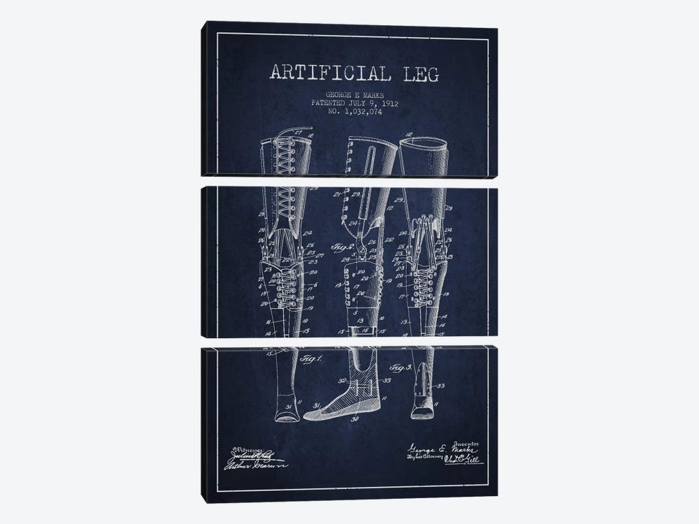 Artificial Leg Navy Blue Patent Blueprint 3-piece Canvas Artwork
